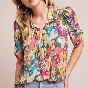 MAEVE Floral Button Up Ruched Sleeve Blouse XS 0
